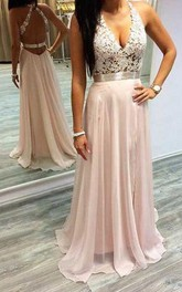 Chiffon Floor-length A Line Sleeveless Sexy Formal Dress with Lace and Ruffles