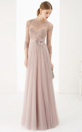 Sheath 3-4-Sleeve Jewel-Neck Floor-Length Lace Tulle Prom Dress With Flower And Pleats