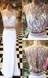 Sheath Two Pieces Jewel Neck Beaded Brush Train Prom Dress