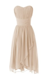 Sweetheart Empire Tiered Mini Dress With Pleats