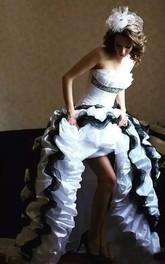 A-Line Taffeta Strapless Sleeveless High-Low Wedding Dress with Cascading Ruffles