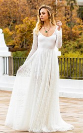 Bohemian Scoop Lace A Line Long Sleeve Floor-length Sweep Train Wedding Dress with Keyhole