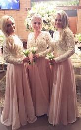 A-line Floor-length V-neck Long Sleeve Chiffon Lace Dress