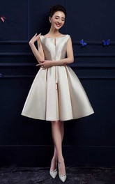 Sleeveless Bateau Neck Pleated Knee Length Satin Dress
