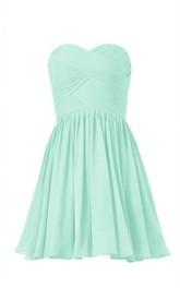 Sweetheart Criss-cross Short Dress With Zipper Back