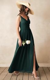 Elegant V-neck A Line Sleeveless Ankle-length Chiffon Bridesmaid Dress With Ruching