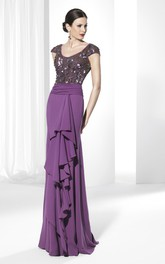 Sheath Maxi V-Neck Cap-Sleeve Sequined Jersey Prom Dress With Beading