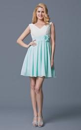 Sleeveless V Neck Empire Waist Short Chiffon Dress