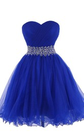 Sweetheart A-line Short Dress With Beaded Waist