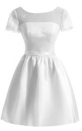Short Sleeve Lace Bodice Short Satin Dress