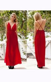 Floor-length Pleats V-neck Backless Chiffon Dress
