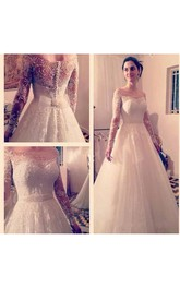 Elegant Off-shoulder Long Sleeve Tulle Wedding Gown With Back Knot