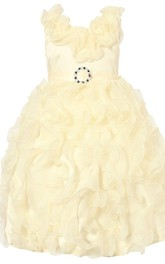 Sleeveless A-line Beaded Dress With Flowers and Bow