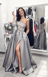 A-line Split Front One Shoulder Satin Dress With Floral Appliques And Sash