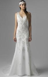 Sheath Floor-Length V-Neck Sleeveless Tulle&Satin Wedding Dress With Beading And Deep-V Back