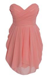 Sweetheart Short Chiffon Dress With Ruching