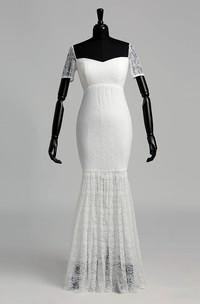 Mermaid Off-the-shoulder Illusion Short Sleeve Floor-length Lace Wedding Dress