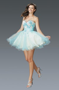 Muti-Color A-Line Mini Sweetheart Sleeveless Tulle Satin Dress With Appliques And Ruffles