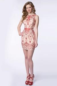Sleeveless Short Sheath Beaded Homecoming Dress With Bateau Neckline