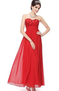 Sweetheart A-line Chiffon Dress With Floral Appliques