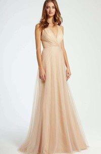Criss-Cross V-Neck Sleeveless Tulle Bridesmaid Dress With Brush Train