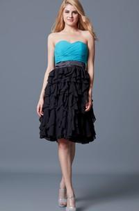 Vibrant Sweetheart Ruffled A-line Short Chiffon Dress