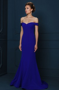 Strapless Jersey Evening Dress With Brush Train