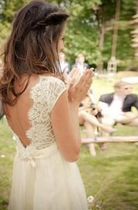 V-neck Cap Sleeves Court Train Backless Wedding Dress With Sash