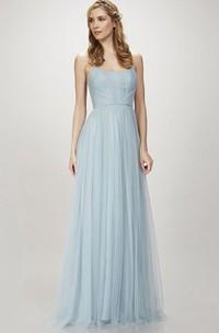Spaghetti Ruched Sleeveless Tulle Bridesmaid Dress