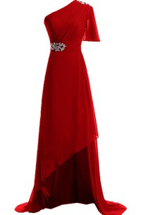 One-shoulder High-low Dress With Beading and Drapping