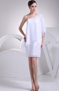 One-Shoulder Short Chiffon Beading and Dress With Flower