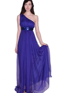 One-shoulder Sequined Waistband Long Pleated Chiffon Dress