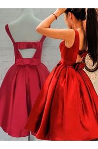 Ball Gown Sleeveless Satin Open Back Tea-length Homecoming Dress