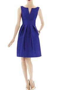 Notch Neck Satin Short Dress with Pleats