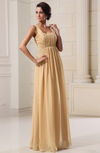 Chiffon Floor-Length Dress With Square-Neck and Pleating