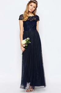 A-Line Appliqued Bateau-Neck Floor-Length Short-Sleeve Chiffon Bridesmaid Dress With Pleats