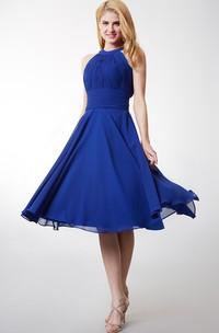 Stylish Halter Neck Pleated Knee Length Chiffon Dress