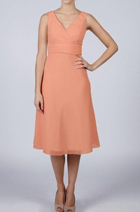 V Neck V Back Sleeveless A-line Chiffon Knee Length Dress Blush