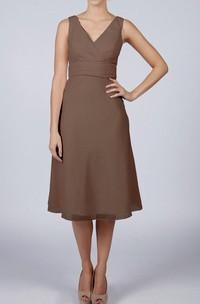 V Neck V Back Sleeveless A-line Chiffon Knee Length Dress Brown