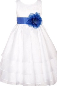 Sleeveless Scoop-neck A-line Dress With Flower and Bow