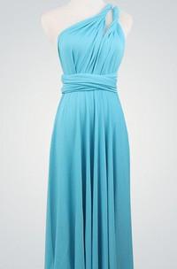 Blue Blue Short Short Wrap Knee Length Blue Infinity Short Bridesmaid Dress