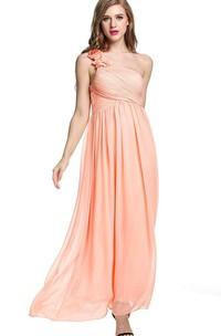 Empire Floral Single Strap Chiffon Long Dress