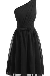 One-shoulder A-line Chiffon Dress With Pleats
