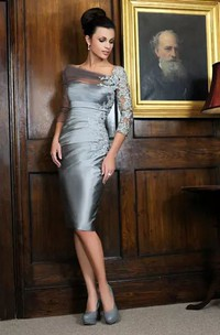 Bateau Sheath Knee-length 3-4 Length Sleeve Satin Lace Mother of the Bride Dress with Zipper Back