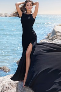 Sexy Bateau Satin Mermaid Sleeveless Sweep Train Evening Dress with Beading and Split Front