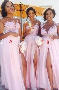 Jewel Cap Short Sleeve Floor-length Tulle A-Line Dress