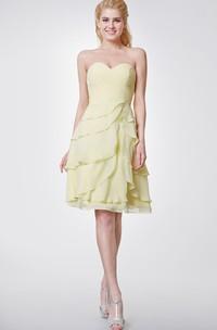 Sweetheart Chiffon Knee Length Dress With Layers