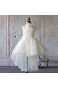 Floral Halter A-line Pleated Organza Short Dress With Jewel Sash
