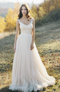 Sleeveless Tulle Illusion Bateau Neck Wedding Dress With Lace Detailed Top And Illusion Back