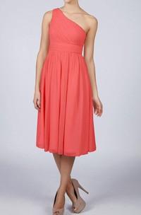 One Shoulder A-line Chiffon Knee Length Dress With Bandage Orange
